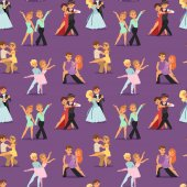 Couples dancing romantic person people dance man with woman seamless pattern vector seamless pattern
