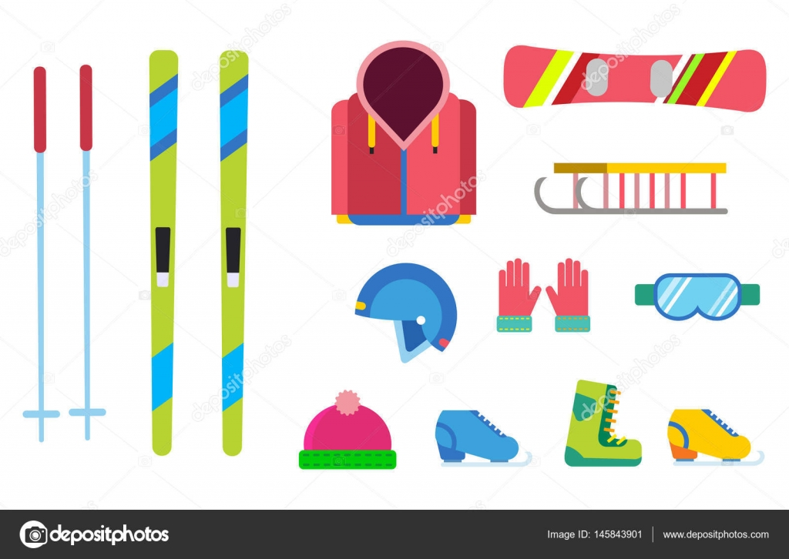 134ec1d5326 Vinter sportspel platt design som isolerade. Ski, sport, aktiv extrimal  sport, vinterspel, sport ikoner, snowboard, vinterkläder — Vektor av ...