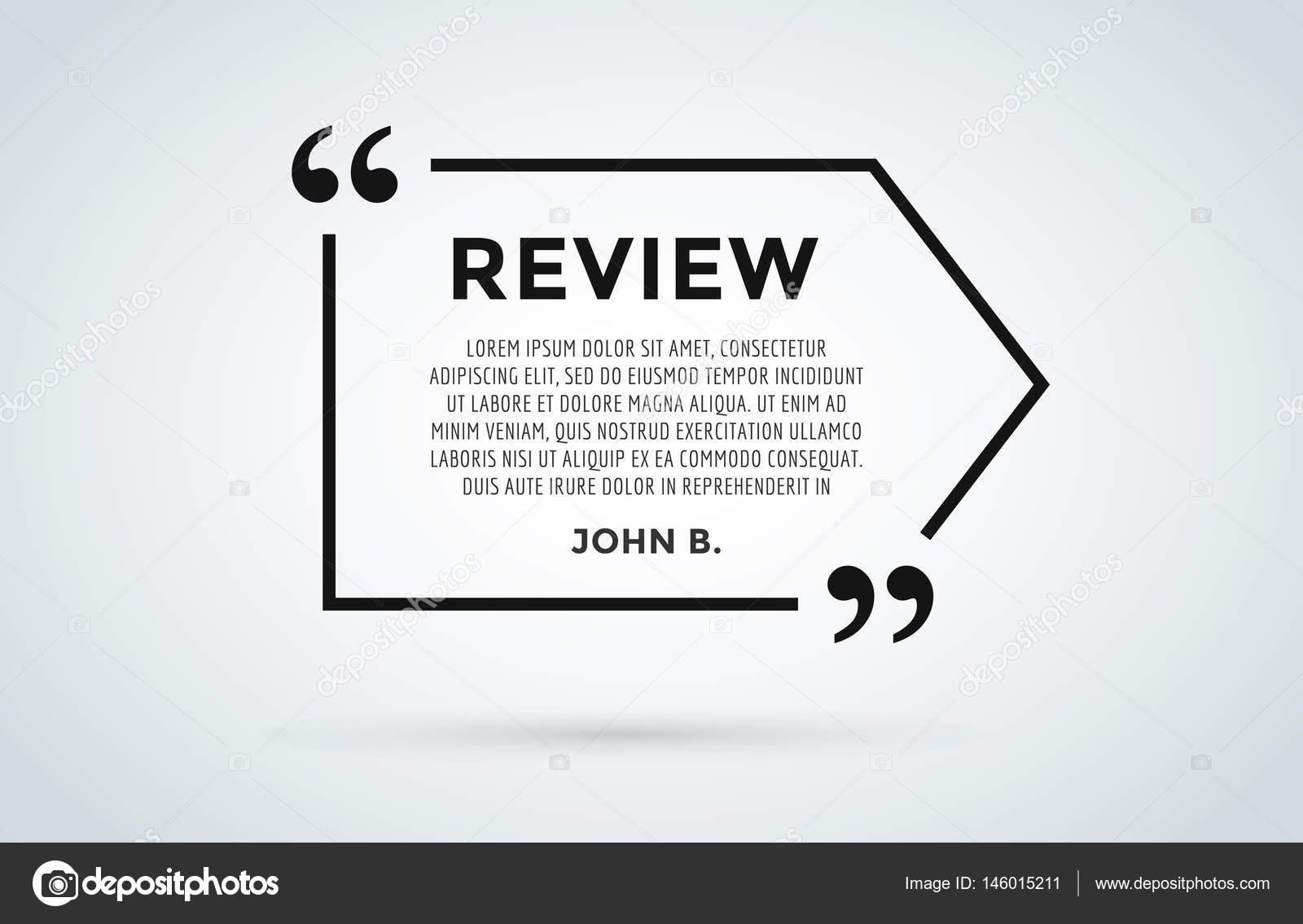 Sitio web de revisión cita citación en blanco plantilla vector icono ...
