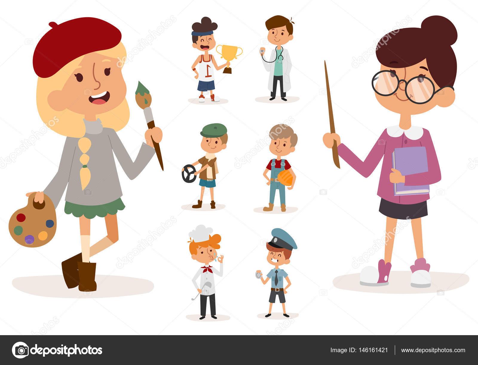 cartoon profession kids children vector set illustration person