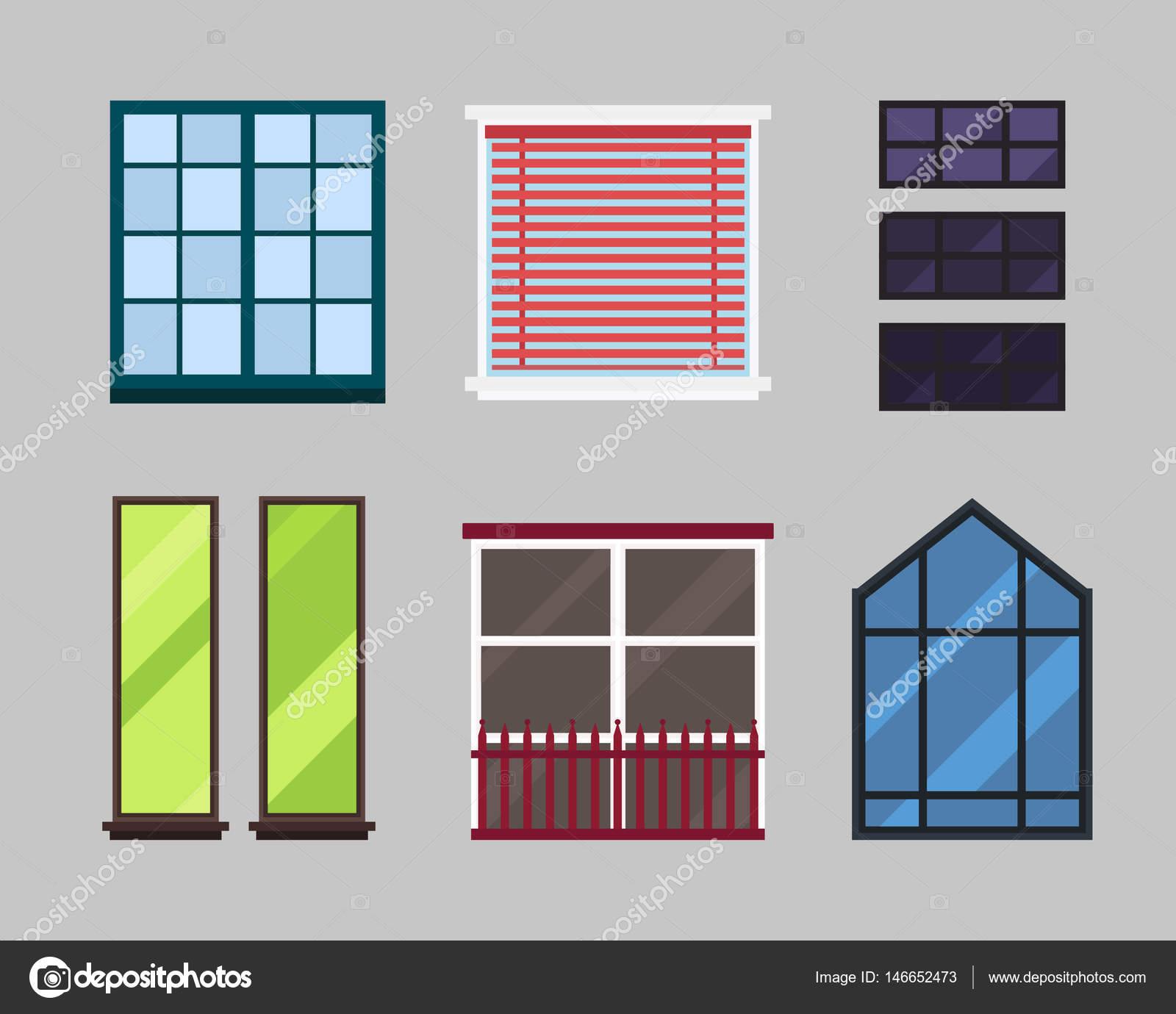 Verschiedene Arten Beherbergen Windows Elemente Isoliert Set