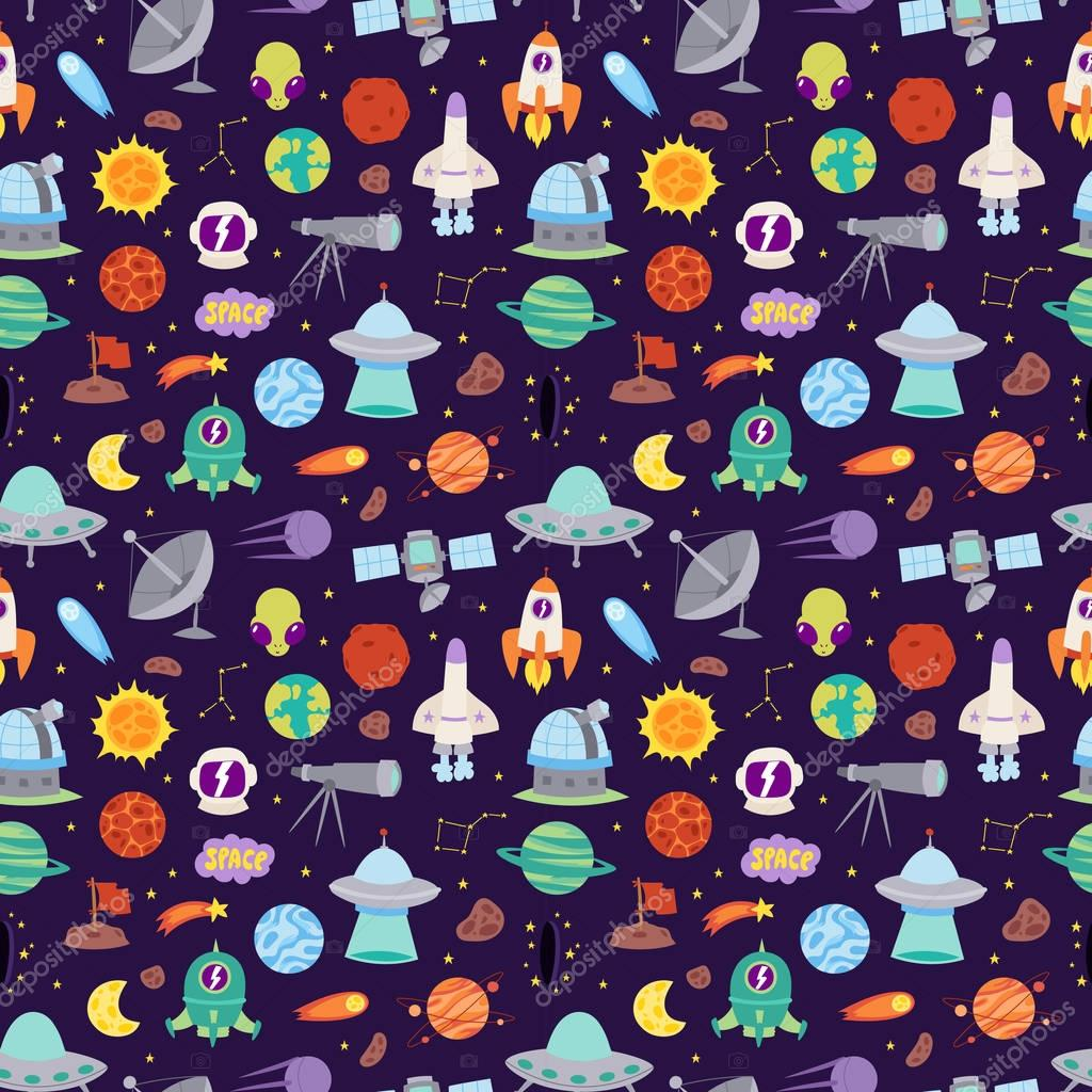 Astronomy icons stickers vector set seamless pattern
