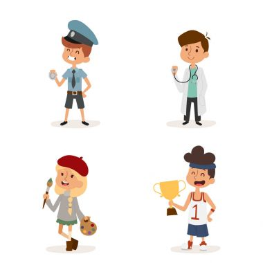 cartoon profession kids children vector set illustration person childhood painter sportsman builder policeman doctor artist uniform worker character