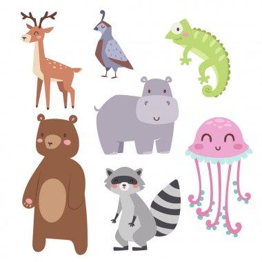 Cute zoo cartoon animals isolated funny wildlife learn cute language and tropical nature safari mammal jungle tall characters vector illustration.