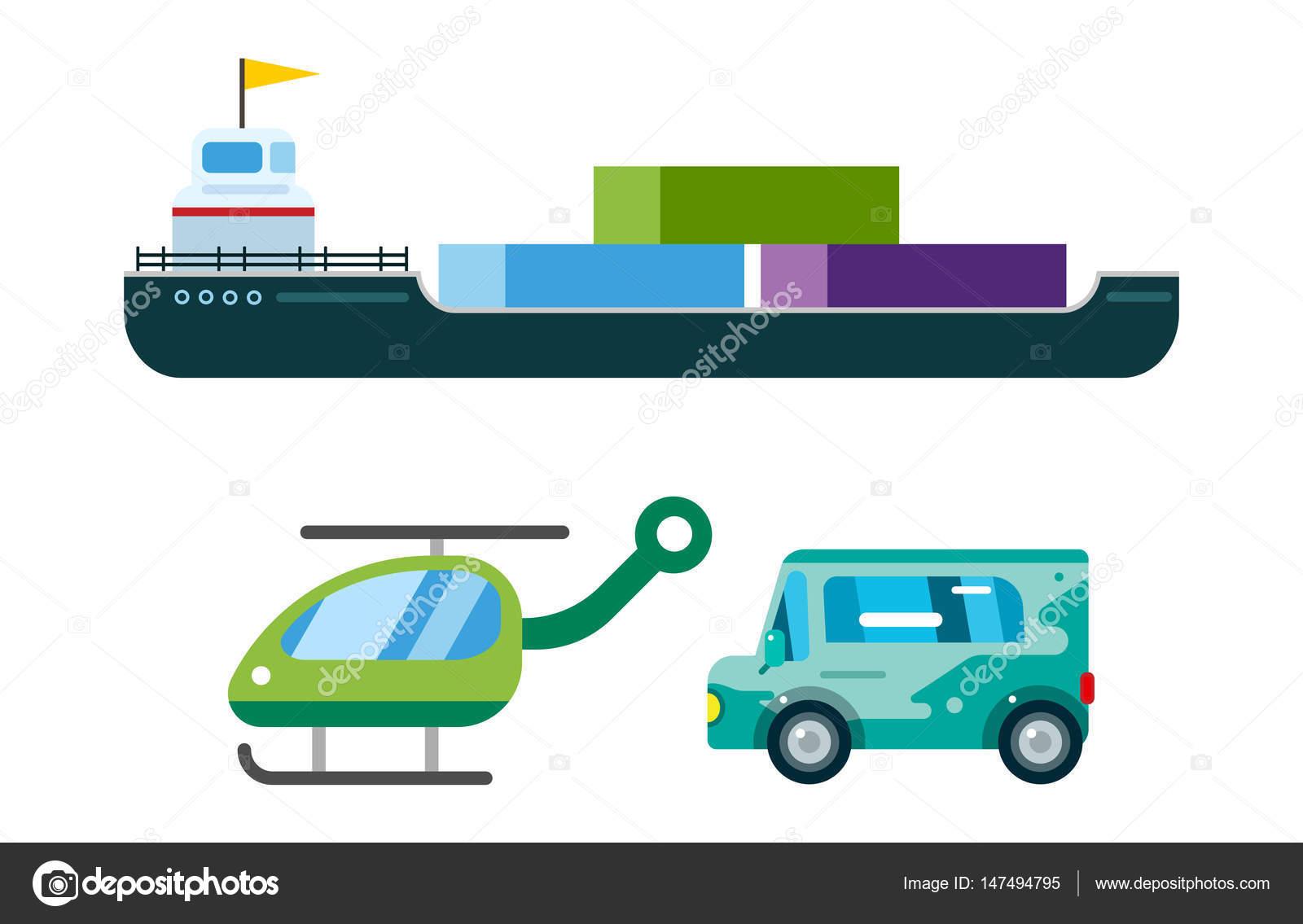Camion di trasporto consegna vettore nave isolata automobili di trasporto autobus camion van camion dei pompieri city car elicottero furgone camion