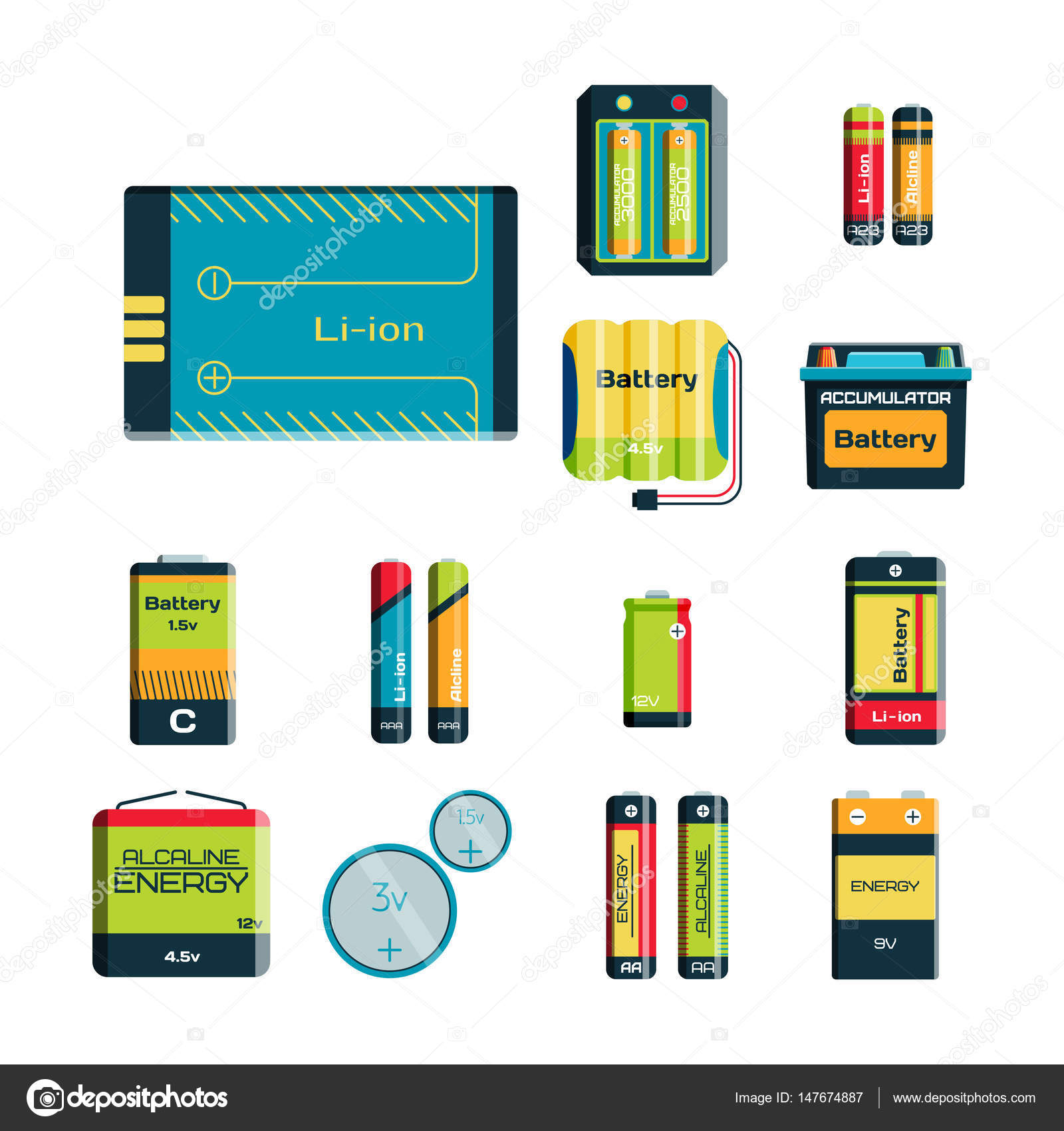 Battery energy tool electricity charge fuel positive supply and ...