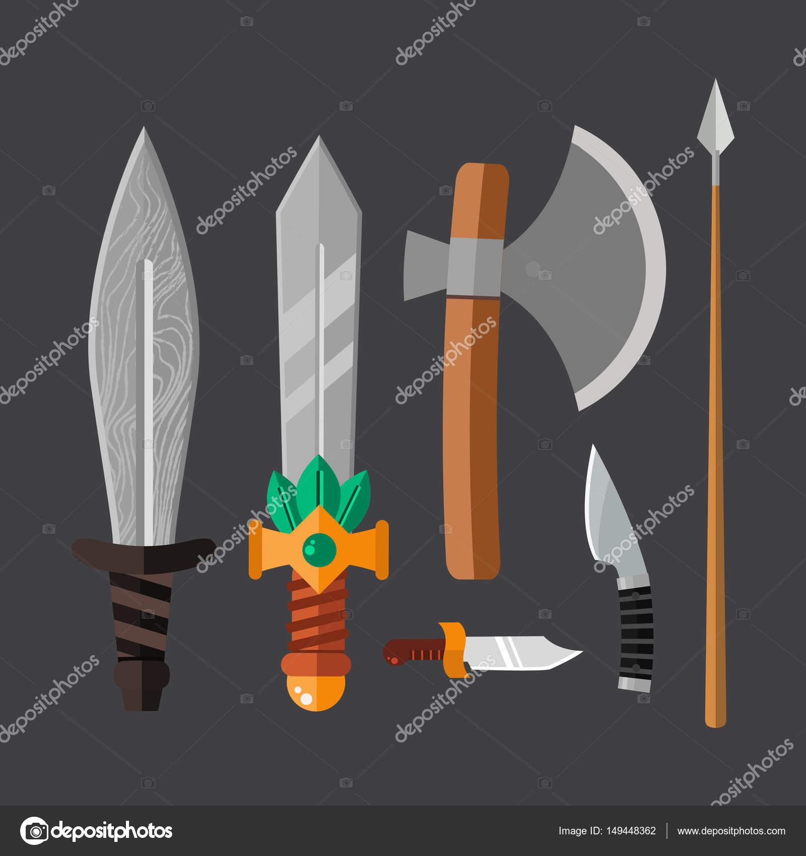 Messer Waffe Gefahrlich Metallisch Vektor Illustration Schwert Speer