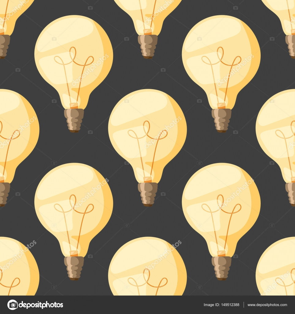 Light Bulb Wallpaper: Cartoon Lamps Old Light Bulb Seamless Pattern Background