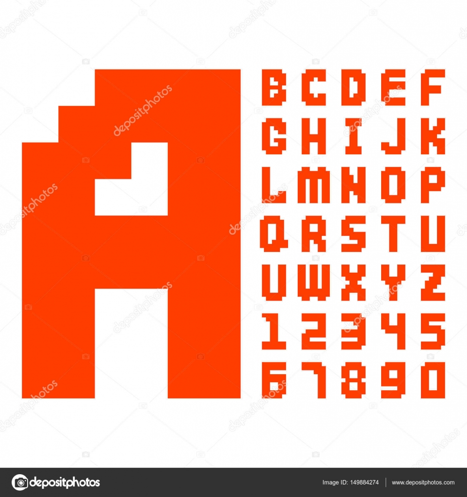 Pixel Retro Font Red Computer Game Design 8 Bit Letters