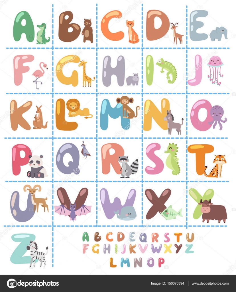 Cute zoo alphabet with cartoon animals isolated on white background