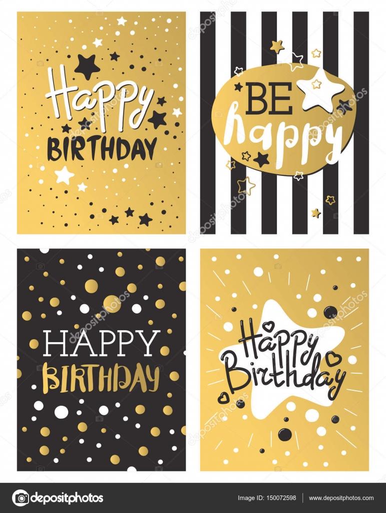 Schönen Geburtstag Einladung Karte Design Gold und schwarz Farben ...