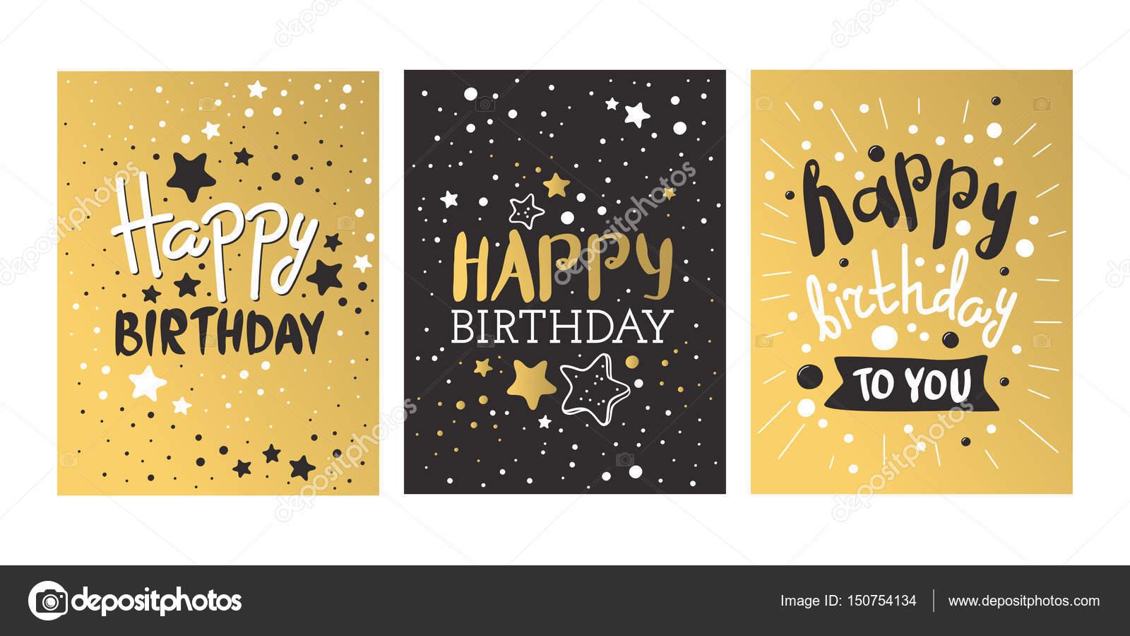 Tarjetas Color Negro Hermoso Cumpleaños Invitación Tarjeta