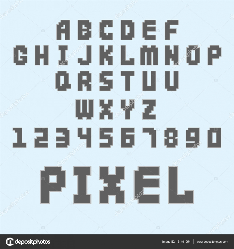pixel retro font video computer game design 8 bit letters numbers electronic futuristic style vector abc