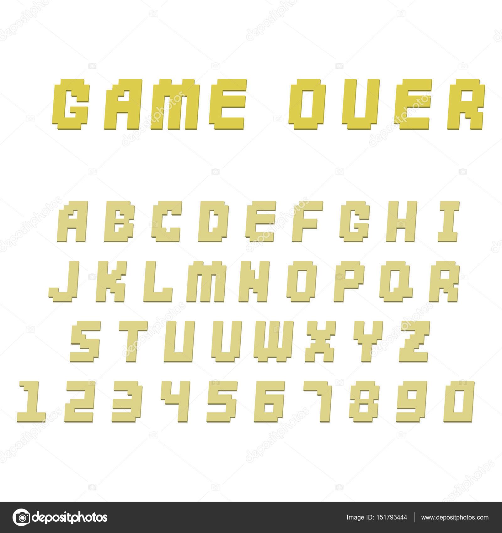 Pixel Retro Font Video Computer Game Design 8 Bit Letters
