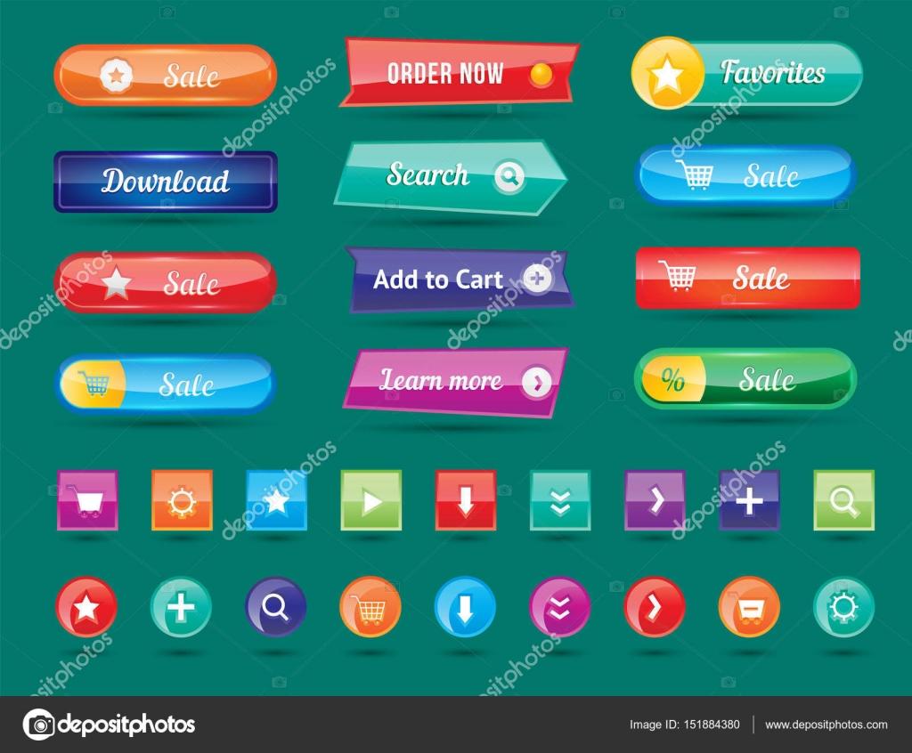 Diseño de botones web coloridos vector ilustración brillante ...