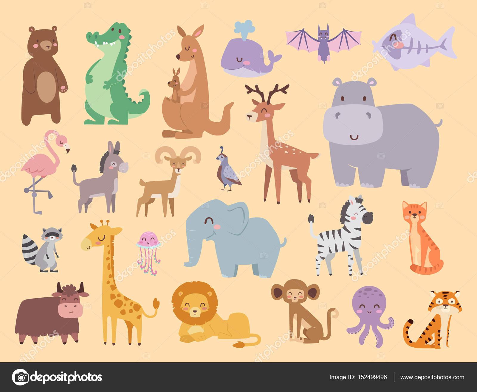 かわいい動物園漫画動物分離面白い野生動物がかわいい言語を学ぶし、熱帯