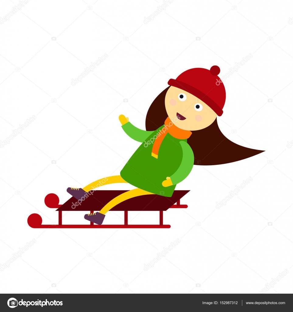 Nino De Navidad Jugando Los Juegos De Invierno Trineos A Chica