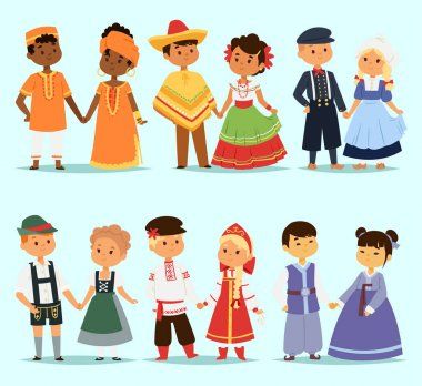 Lttle kids children couples character of world dress girls and boys in different traditional national costumes and cute nationality dress vector illustration. Cultural friendship child ethnic group. stock vector