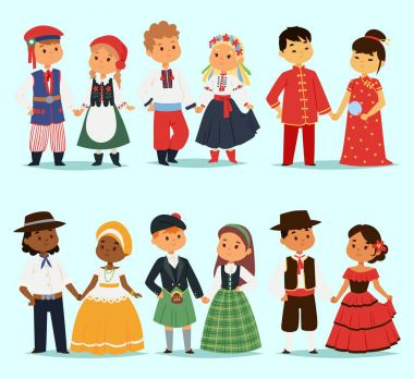Traditional kids couples character of world dress girls and boys in different national costumes and cute little children nationality dress vector illustration.