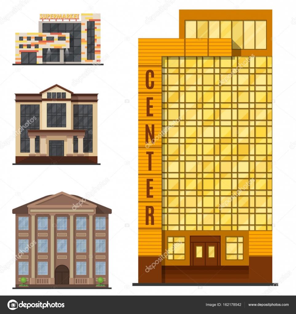 Ville Bâtiments Modernes Tour Bureau Architecture Maison Affaires  Appartement Maison Façade Illustration Vectorielle U2014 Image Vectorielle