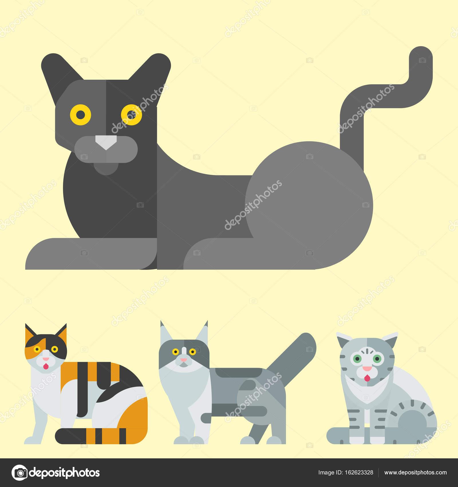 猫ベクトル イラストのかわいい動物の面白い装飾的な子猫文字猫国内子猫