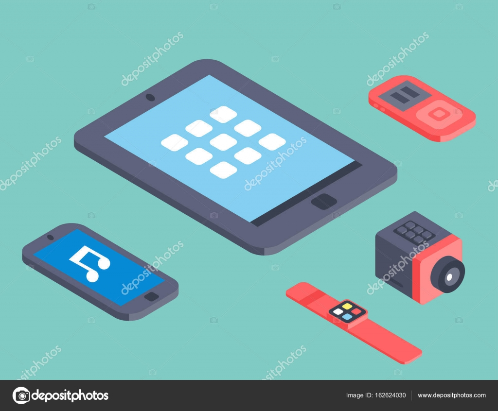 Vector set of isometric computer devices icons wireless technologies ...