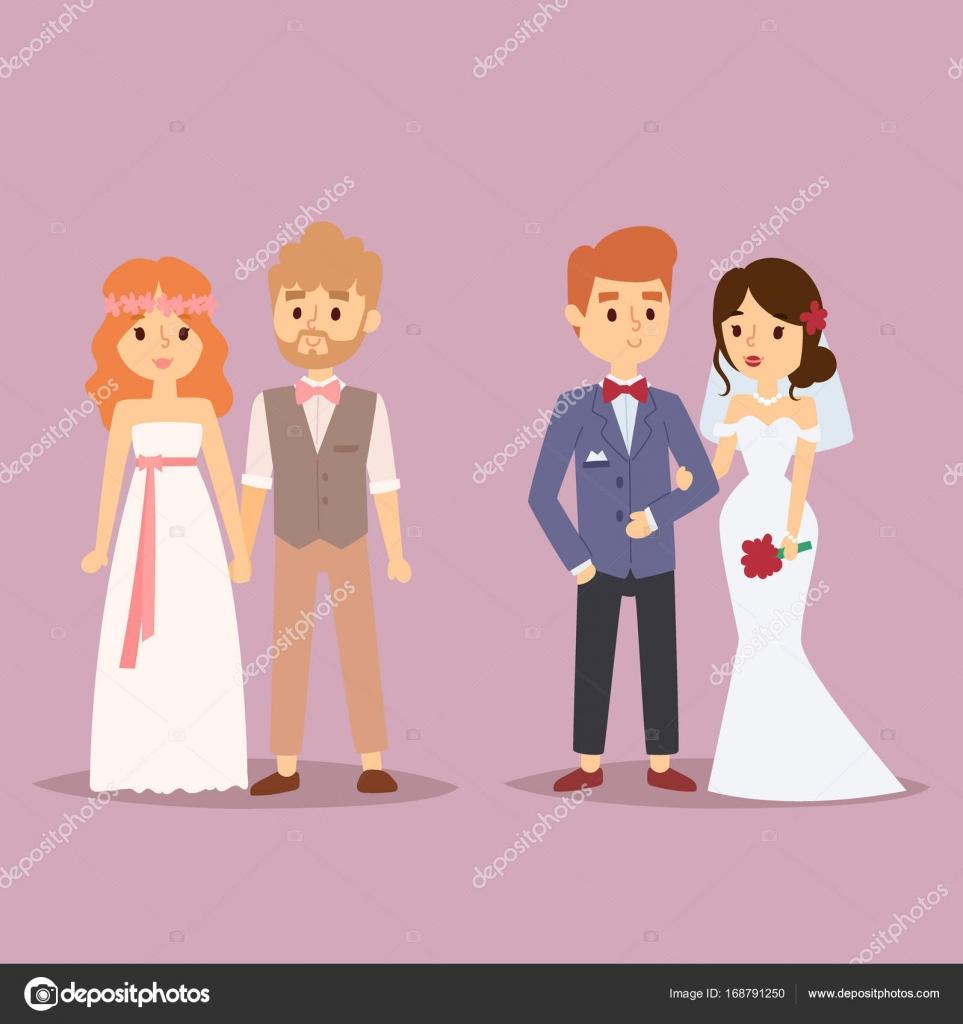 Pareja de boda vector chica hermosa modelo en vestido blanco y el ...