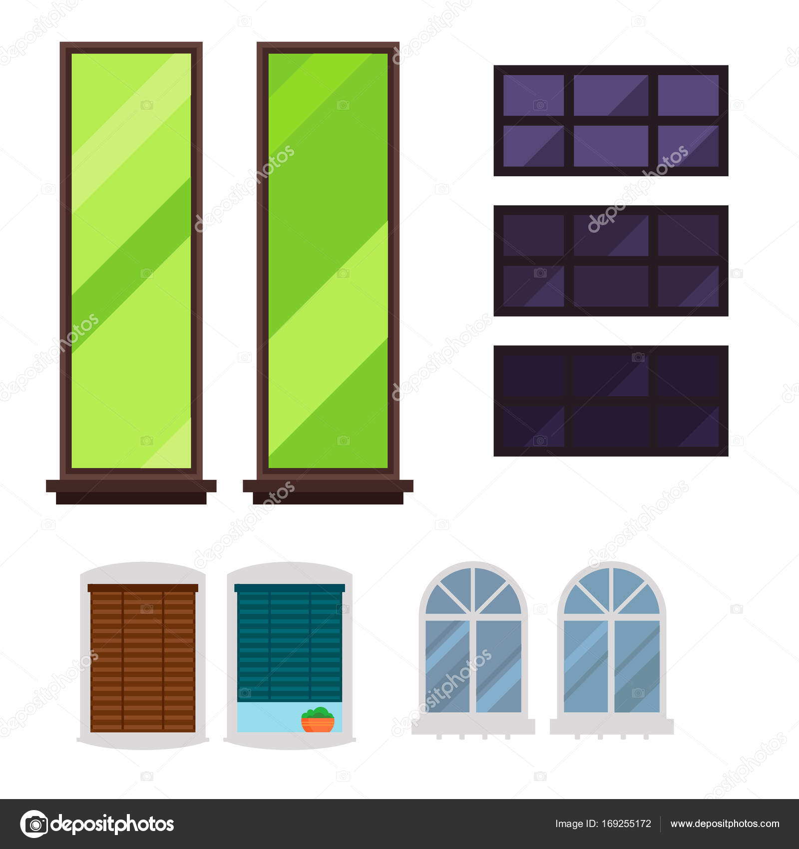 Different Types House Windows Elements Flat Style Glass Frames