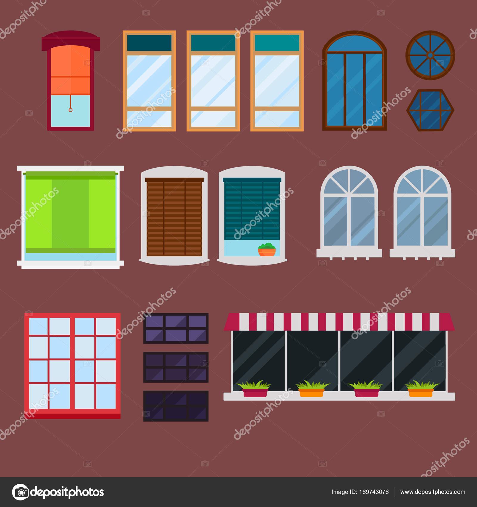 Verschiedene Arten beherbergen Windows Elemente flach Stil Glas ...