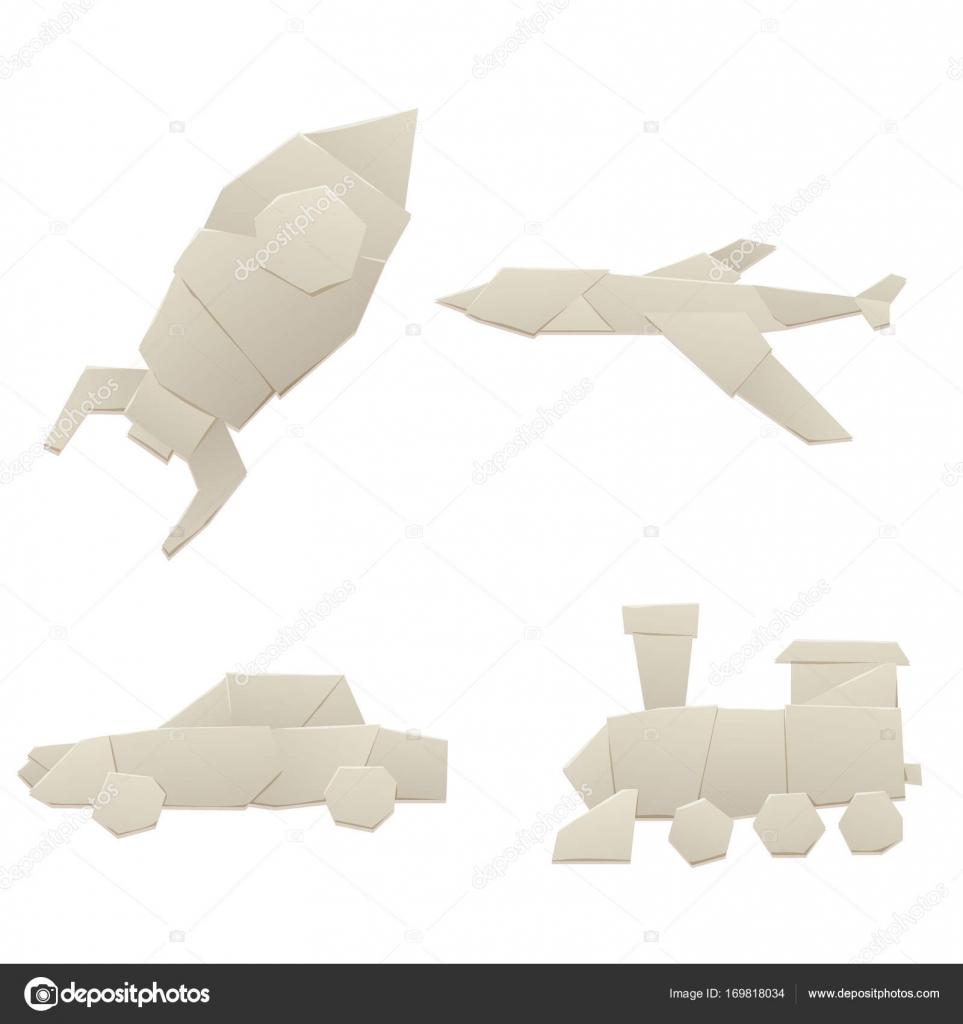 Origami Papier Logistique Transport Concept Voyage Plat Papier