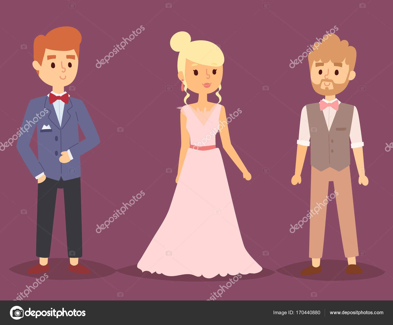Hochzeitspaar Vektor-schöne Modell Mädchen im weißen Kleid und Mann ...