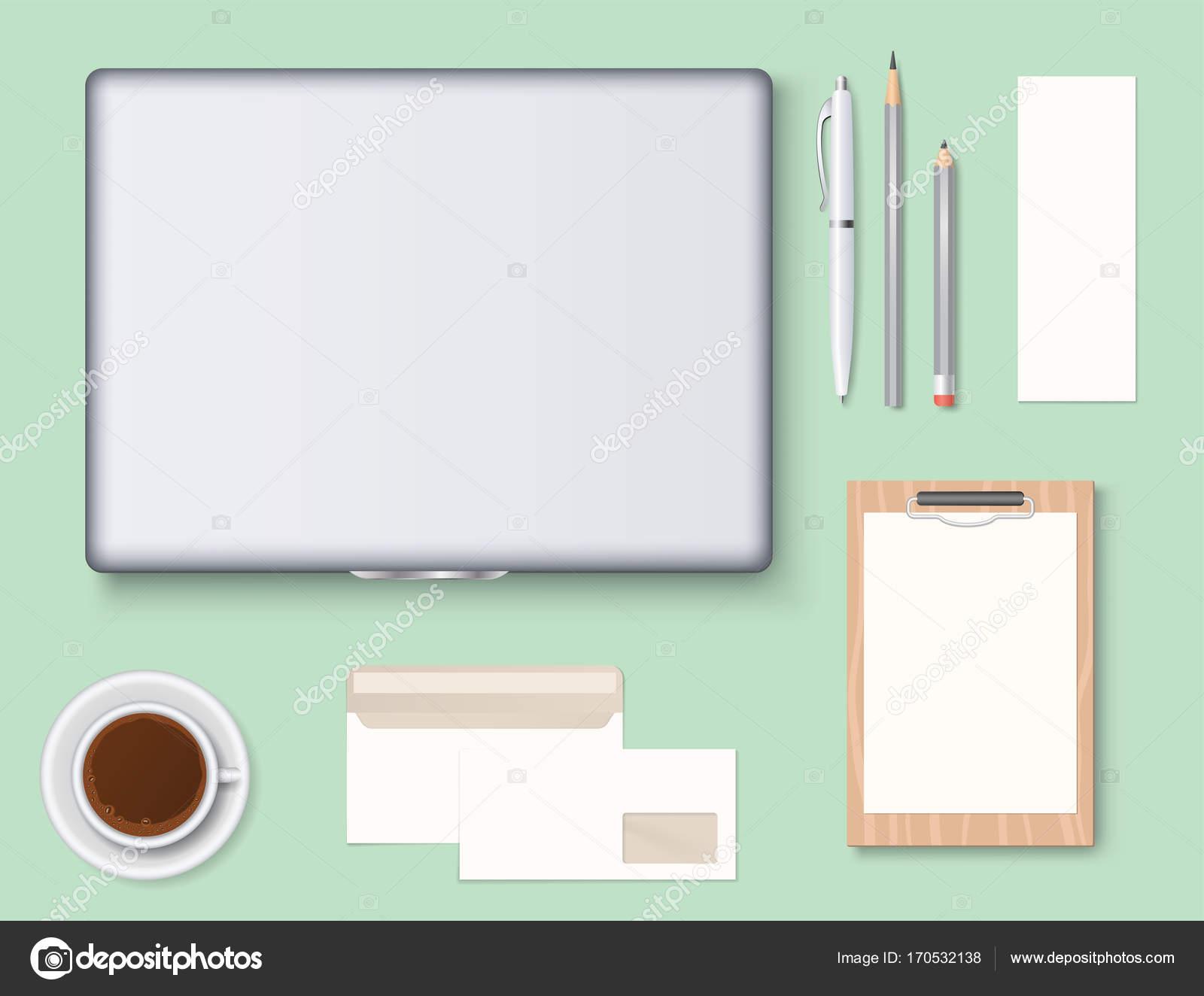 Premium-CI Vorlage Geschäft Schreibwaren Mock-up realistische 3d ...