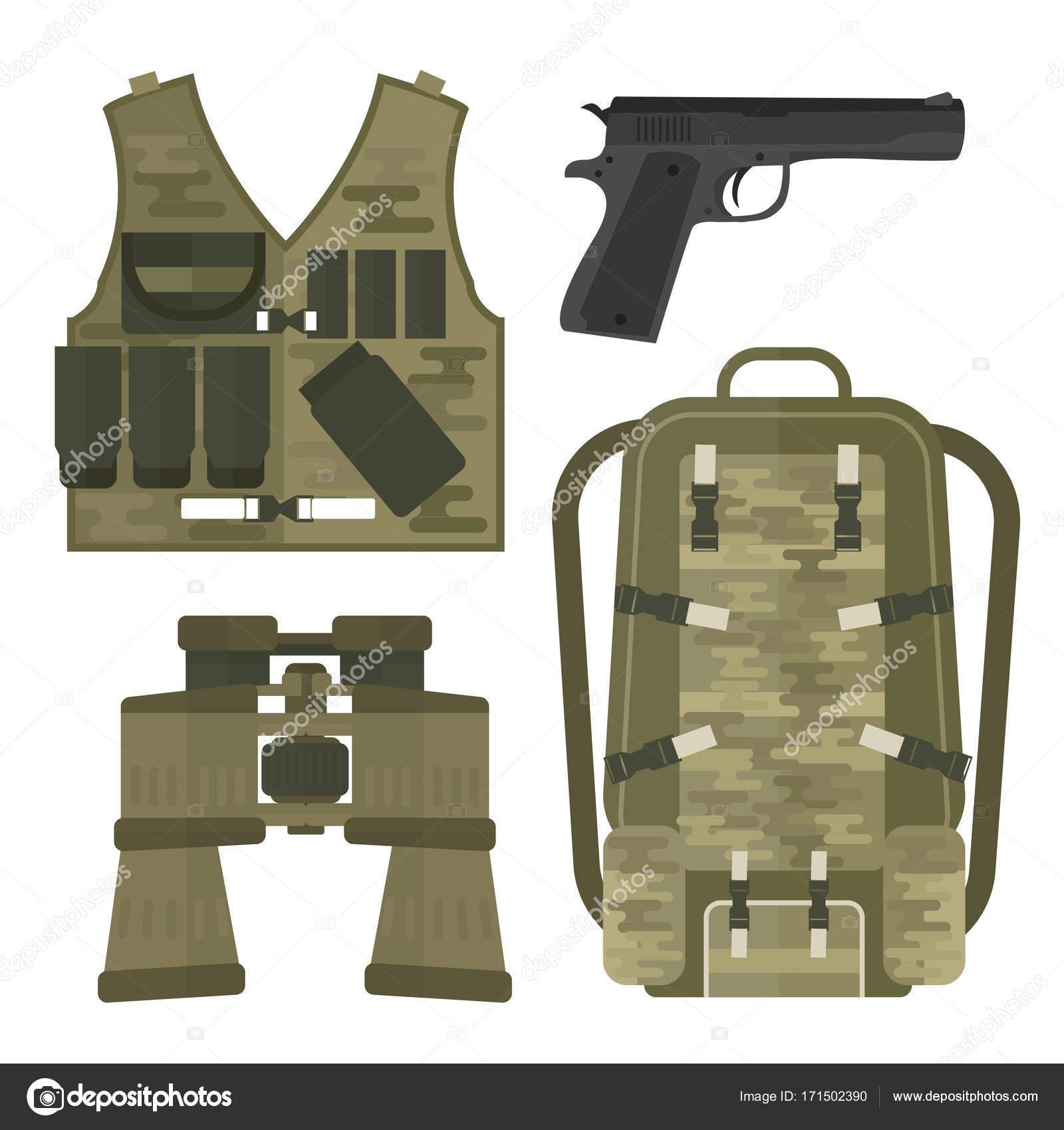 2c00817364 Στρατιωτικό όπλο όπλα πανοπλία δυνάμεις αμερικανικό μαχητικό πυρομαχικά  καμουφλάζ σημάδι διανυσματικά εικονογράφηση — Διανυσματικό Αρχείο