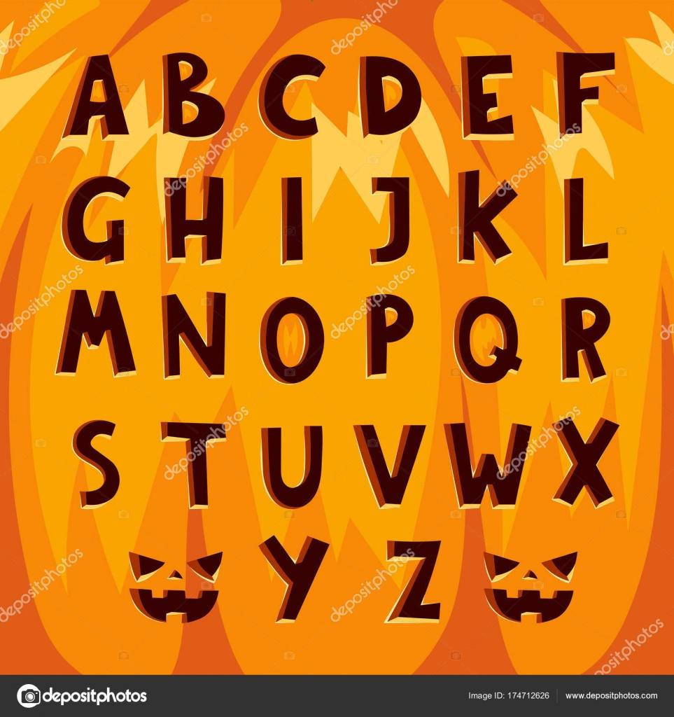 Halloween pumpkin font alphabet text symbols vector illustration