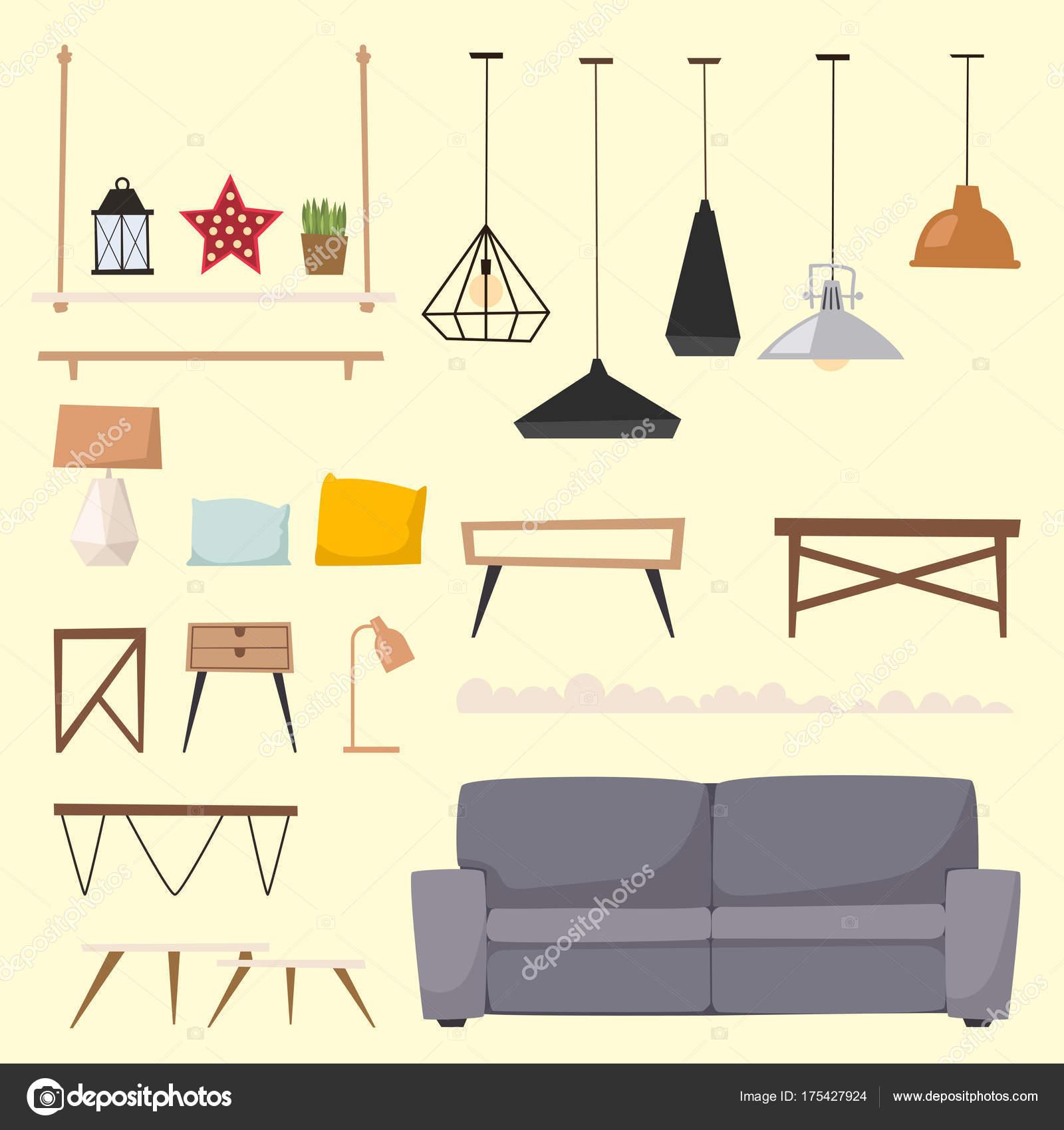 Furniture room interior design apartment home decor concept flat ...