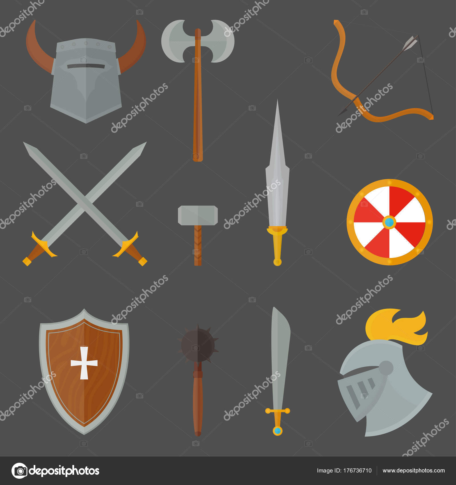 Knights symbols medieval weapons heraldic knighthood elements ...