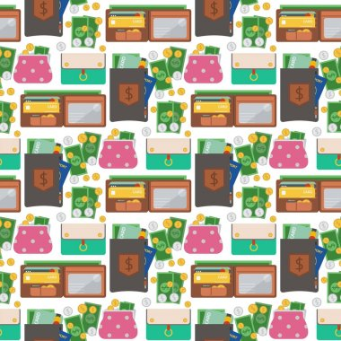 Purse wallet with money seamless pattern background shopping buy business financial payment bag and accessory trendy cash wealth vector illustration.
