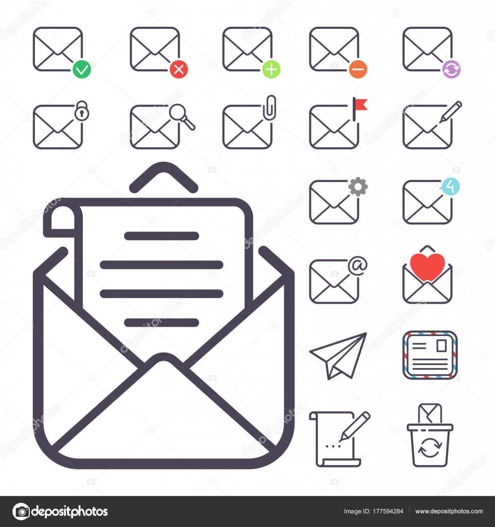 E Mail Brief Vektor Icons Set Umschlag Abdeckung Leer