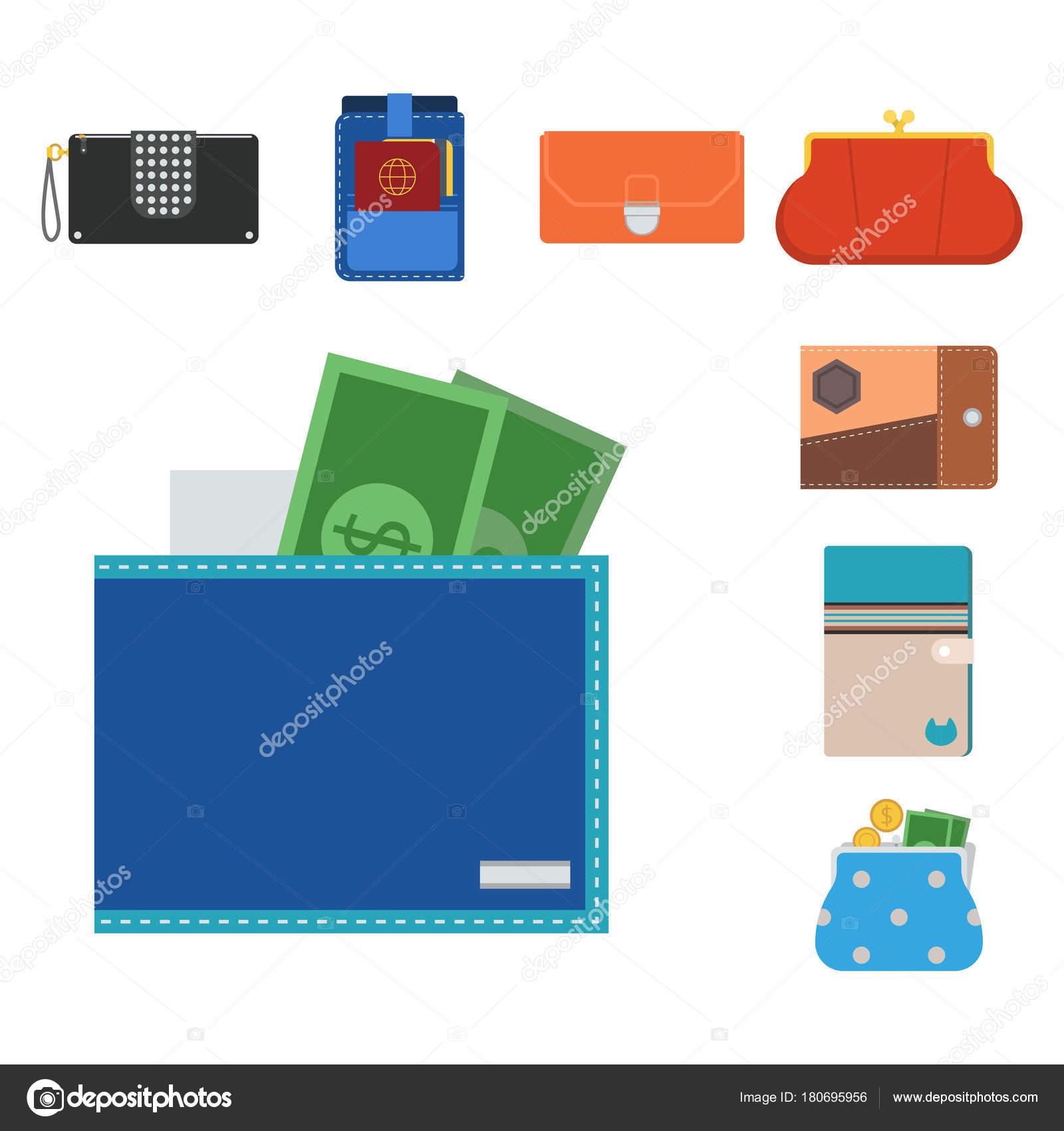 aspetto estetico nuovo elenco vasta gamma di Lo shopping conveniente borsa portafoglio vettoriale ...