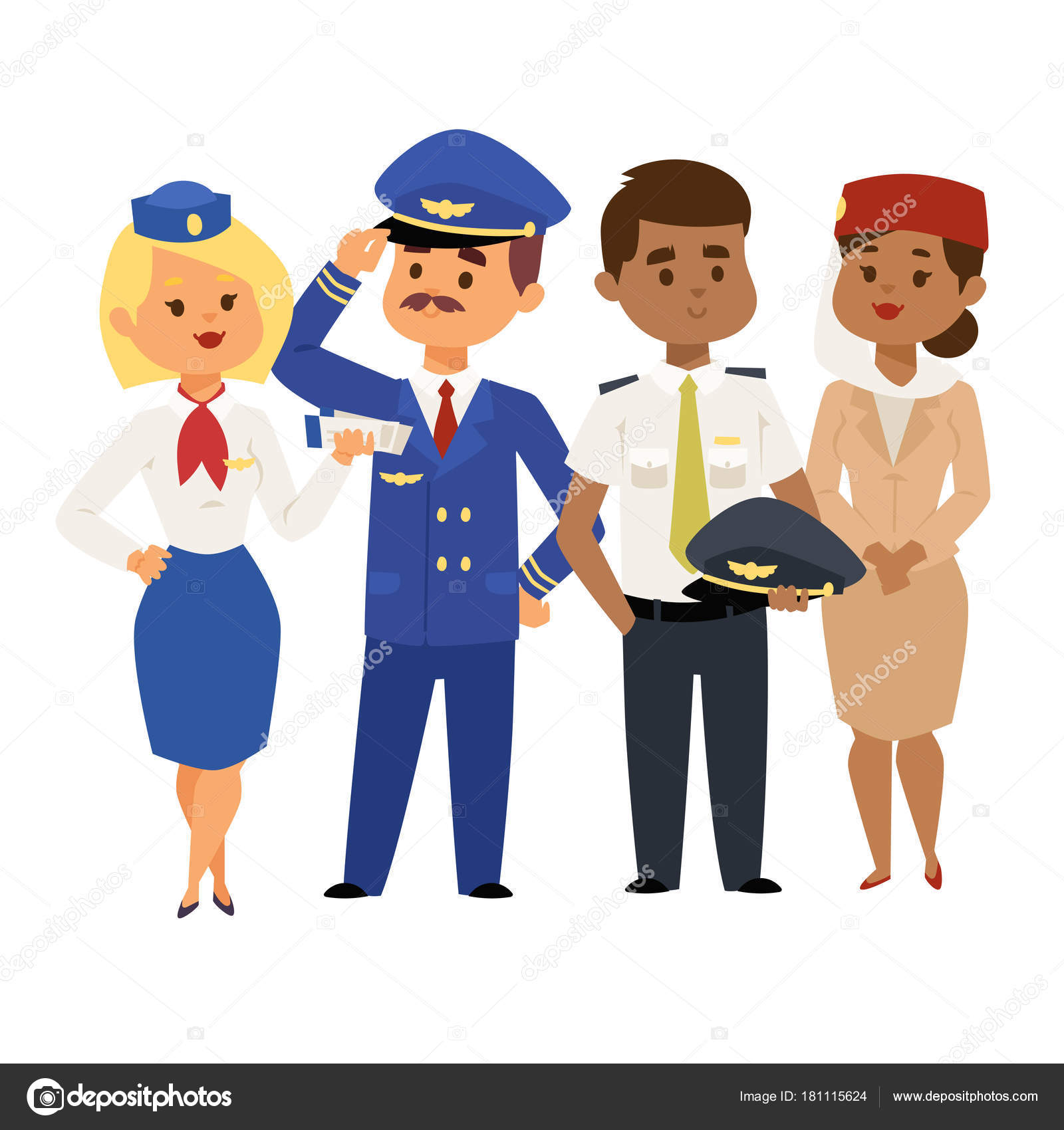 5a62473648623 Pilots and stewardess vector illustration airline character plane personnel  staff air hostess flight attendants people command