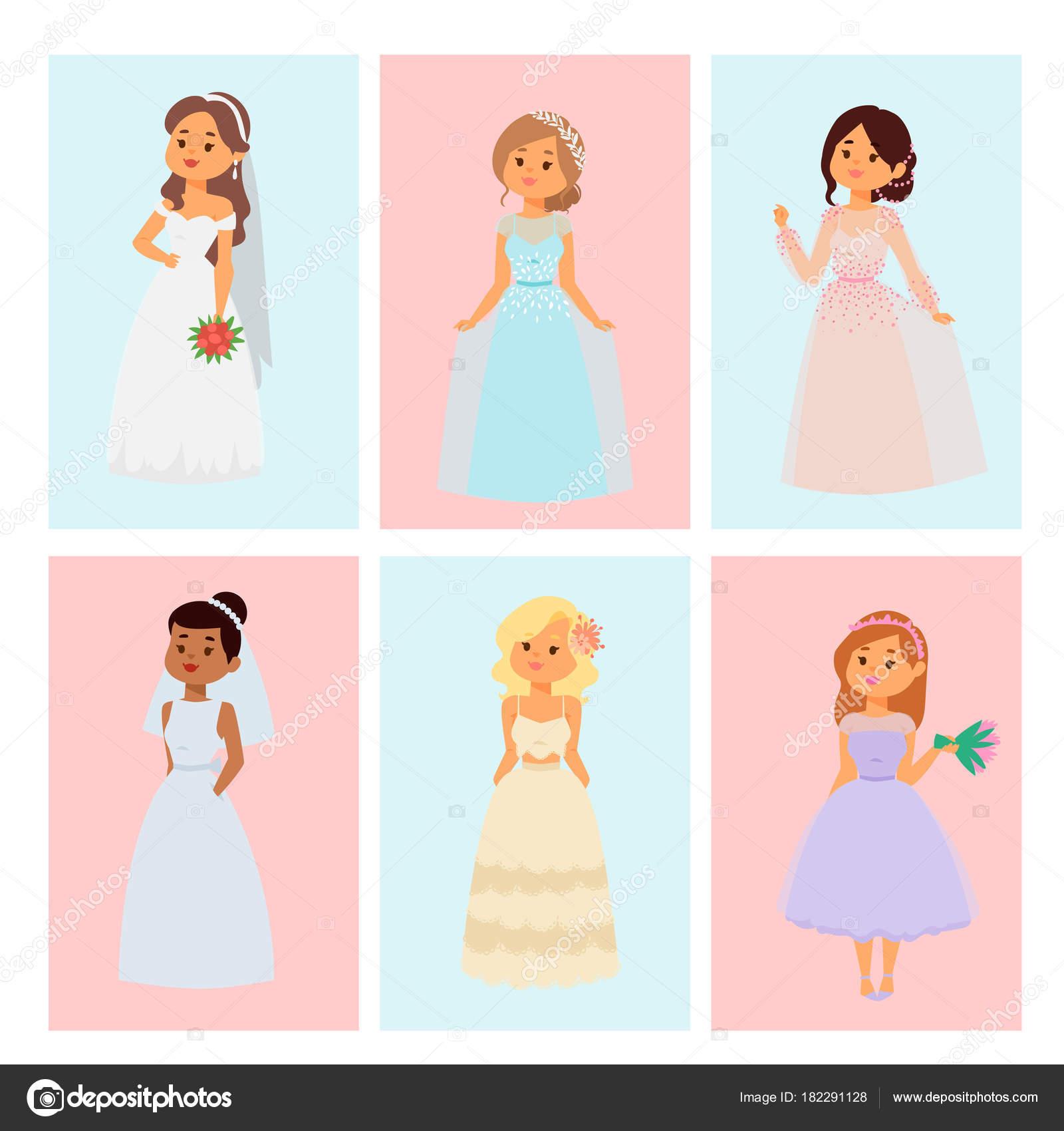 Brides De Mariage Caracteres Vecteur Carte Illustration Mariage Mode