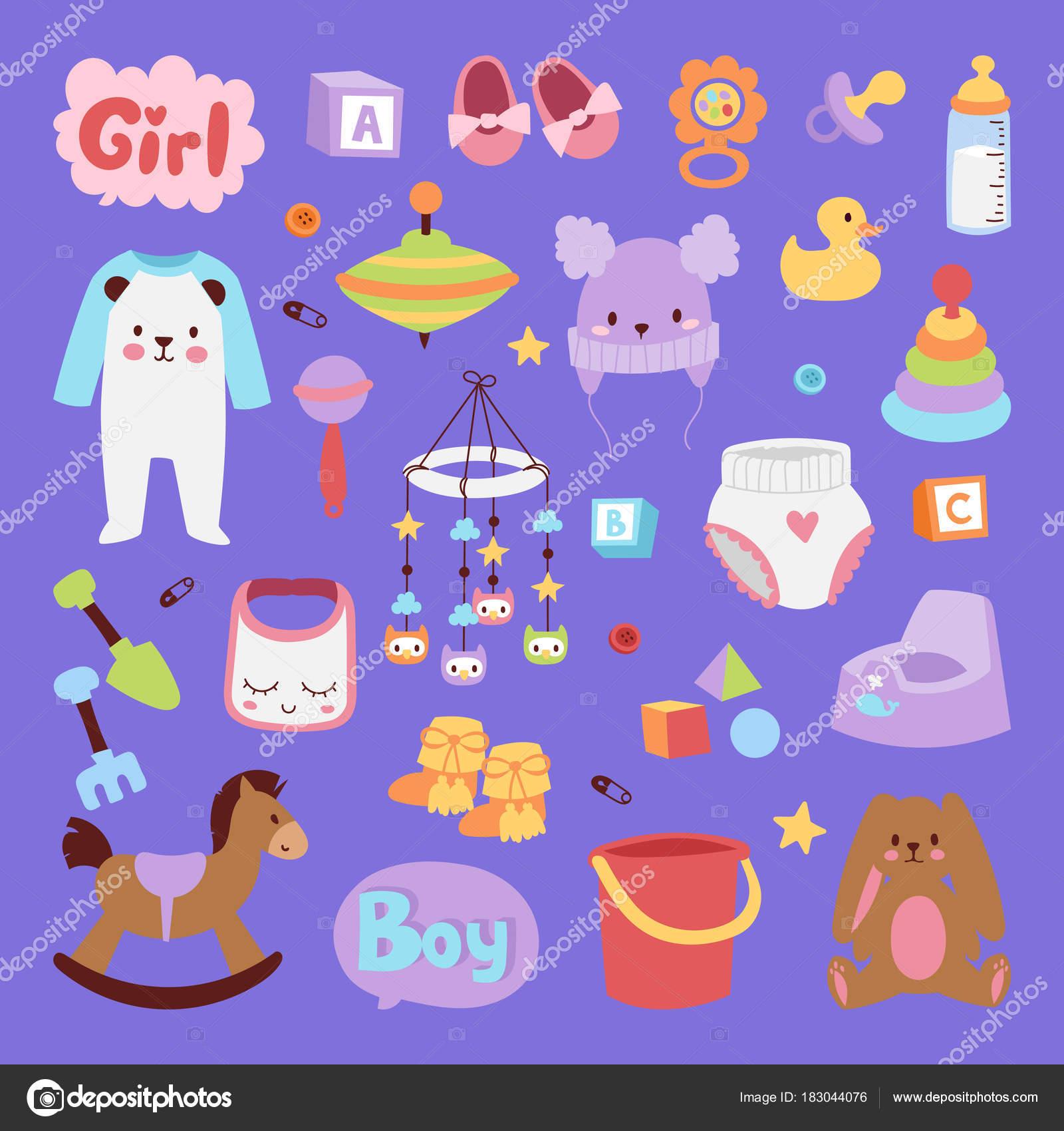 Icono de vector pequeño para bebé recién nacido ropa y juguetes set ...