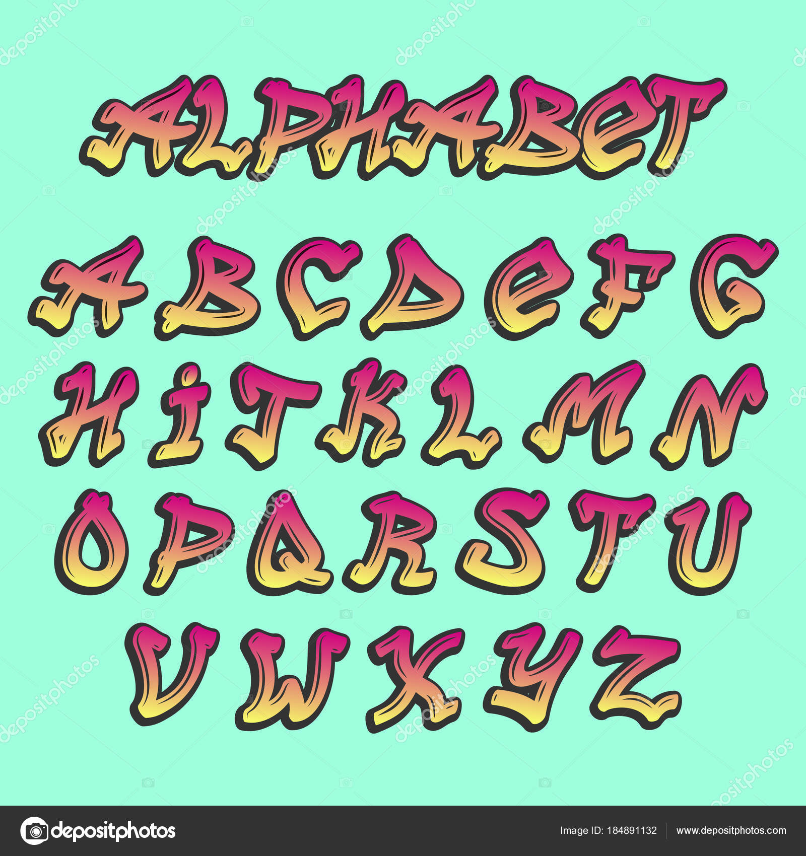 Alphabet graffity vector alphabetical font abc by brush stroke with letters and numbers or grunge alphabetic typography illustration isolated on background