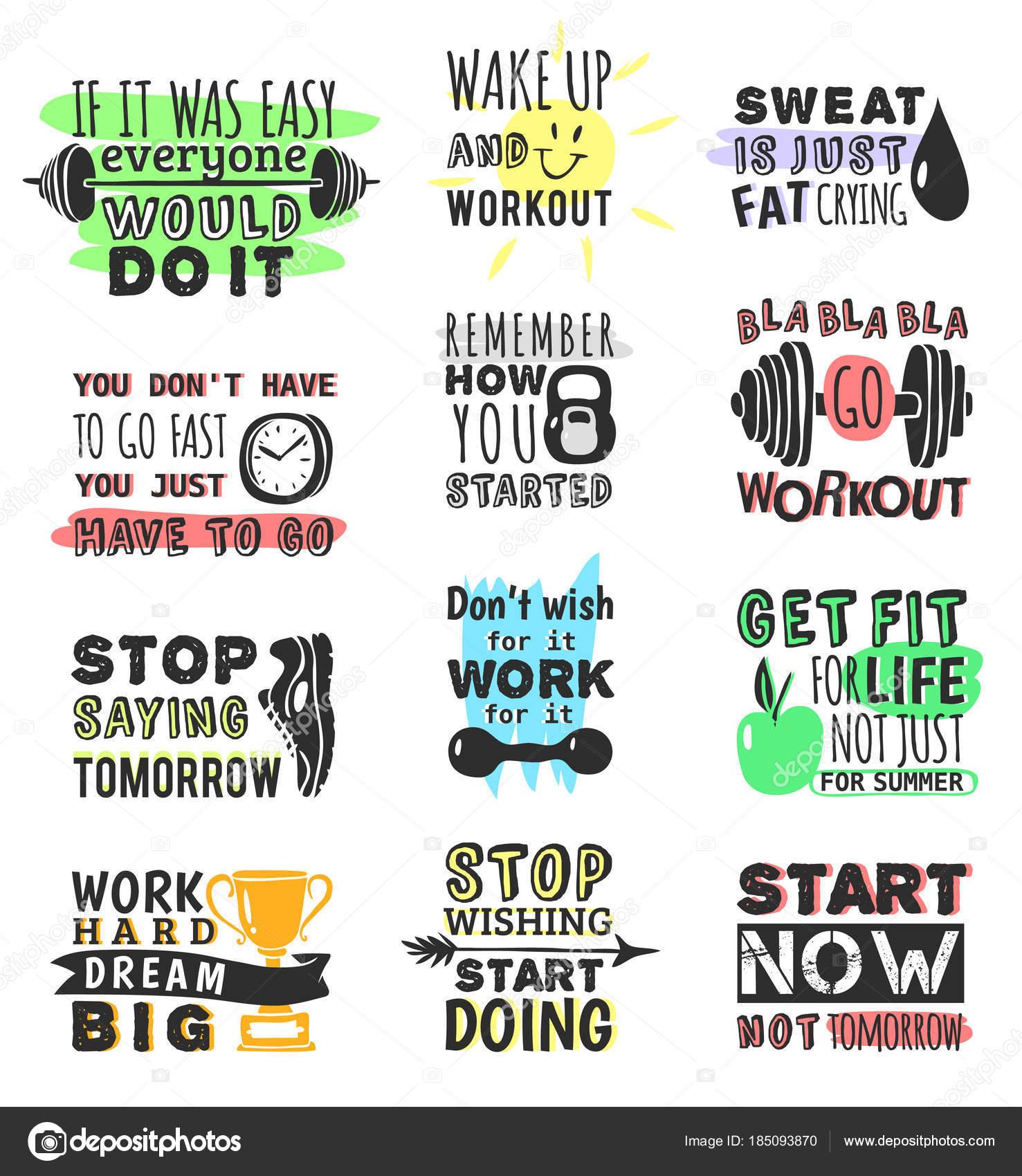 Gimnasia Del Deporte Fitness Ejecutar Texto Motivacional