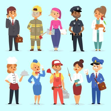 People different professions vector illustration. Success teamwork diversity human work lifestyle. Standing successful young professions policeman, doctor, fireman, chef person character in uniform. stock vector