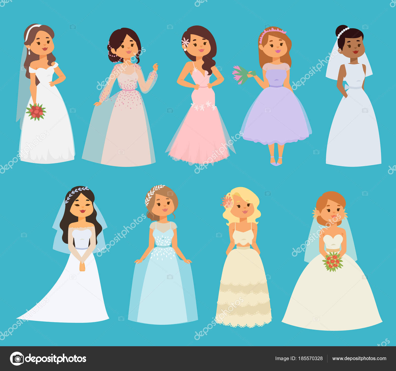 Las novias boda vector niña personajes vestido blanco ilustración ...