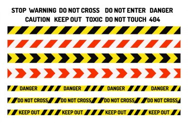 Prohibition signs industry production vector warning danger tape forbidden safety information protection no allowed caution information.