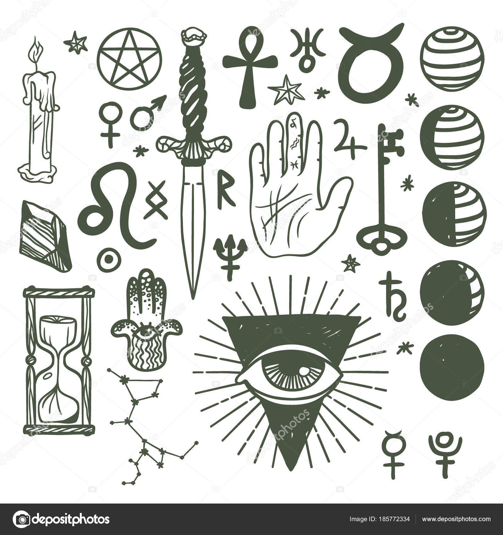 Trendy Vector Esoteric Symbols Sketch Hand Drawn Religion Philosophy