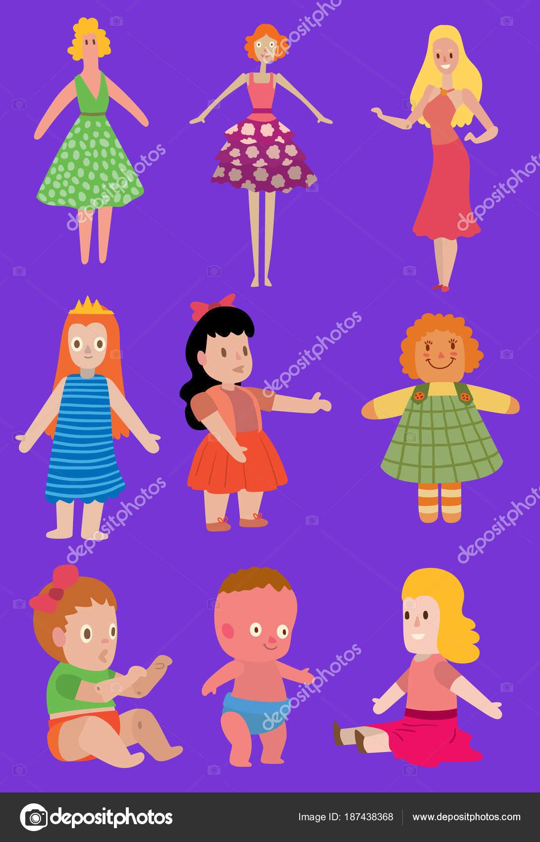Dibujos animados muñecas juguete Vector carácter las muchachas del ...