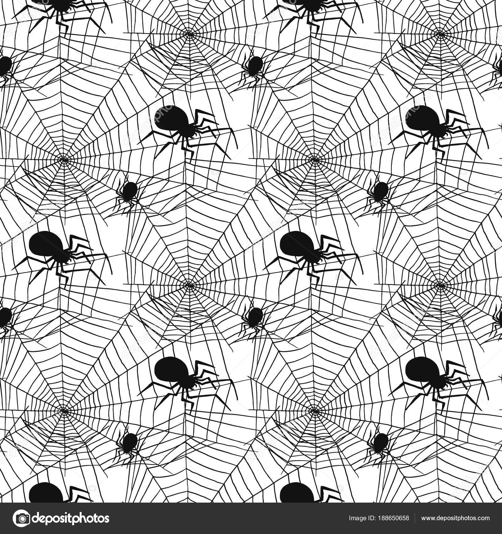 vector spider web silhouette spooky spiders seamless pattern